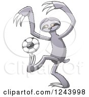 Clipart Of A Soccer Football Sloth Kicking Royalty Free Vector Illustration by Zooco