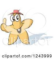 Starfish Wearing A Straw Hat And Holding A Thumb Up