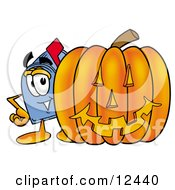 Blue Postal Mailbox Cartoon Character With A Carved Halloween Pumpkin