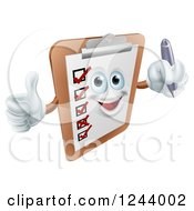 Clipart Of A Happy Clipboard Holding A Pen And Thumb Up Royalty Free Vector Illustration by AtStockIllustration