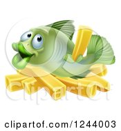 Clipart Of A Happy Fish With Chips French Fries Royalty Free Vector Illustration by AtStockIllustration