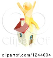 Clipart Of A 3d Happy Gold Person Cheering On Top Of A House Royalty Free Vector Illustration