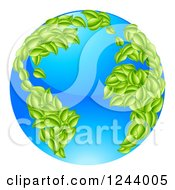 Clipart Of A 3d Blue Earth Globe With Leaf Continents Featuring The Atlantic Royalty Free Vector Illustration