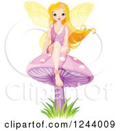 Clipart Of A Female Fairy Sitting On A Purple Mushroom Royalty Free Vector Illustration by Pushkin