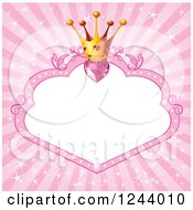 Princess Crown With Pink Hearts Over A Frame With Copyspace And Rays