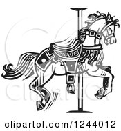 Clipart Of A Black And White Woodcut Carousel Horse Royalty Free Vector Illustration