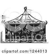 Clipart Of A Black And White Woodcut Carousel Of Death With Animal Skeletons Royalty Free Vector Illustration