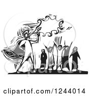 Clipart Of A Black And White Woodcut Crowd Watching A Devil Blowing Fire Royalty Free Vector Illustration by xunantunich