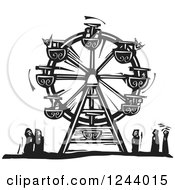 Clipart Of A Black And White Woodcut Carnival Ferris Wheel With People Below Royalty Free Vector Illustration