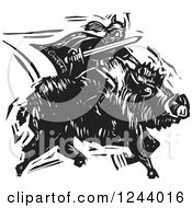 Clipart Of The Norse God Frey Riding A Charging Boar With Sword Ready Black And White Woodcut Royalty Free Vector Illustration by xunantunich