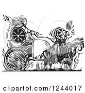Clipart Of A Black And White Woodcut Of Goats Pulling The Norse Goddess Frigg In A Chariot Royalty Free Vector Illustration
