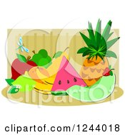 Clipart Of A Still Life Of Tropical Fruit And A Dragonfly Royalty Free Vector Illustration by bpearth
