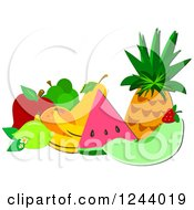Clipart Of A Still Life Of Tropical Fruit Royalty Free Vector Illustration