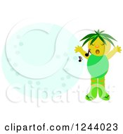 Clipart Of A Green Boy Singing Over A Moon Royalty Free Vector Illustration