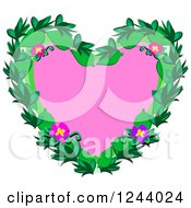 Clipart Of A Pink Heart With Tropical Flowers And Leaves Royalty Free Vector Illustration