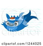 Happy Blue Fish With Sushi On His Head