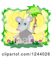 Cute Mouse Holding A Branch With Butterflies