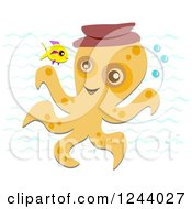 Happy Octopus Wearing A Hat And Talking To A Fish