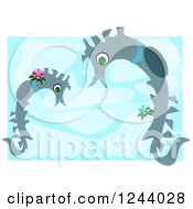 Two Seahorses Over Blue Water With White Borders