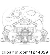 Clipart Of A Black And White School Building Facade On A Sunny Day Royalty Free Vector Illustration by Alex Bannykh