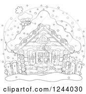 Clipart Of A Black And White Log Cabin In The Snow Royalty Free Vector Illustration by Alex Bannykh