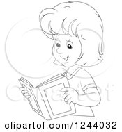 Clipart Of A Black And White Happy Woman Reading A Book Royalty Free Vector Illustration