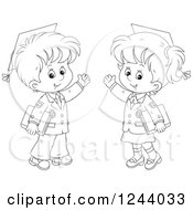 Clipart Of Black And White School Boy Wearing Graduation Caps And Waving Royalty Free Vector Illustration