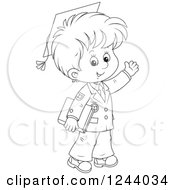 Clipart Of A Black And White School Boy Wearing Graduation Caps And Waving Royalty Free Vector Illustration