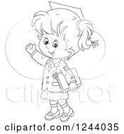 Clipart Of A Black And White School Girl Wearing A Graduation Cap And Waving Royalty Free Vector Illustration