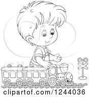 Clipart Of A Black And White Boy Playing With A Train Set Royalty Free Vector Illustration