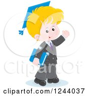 Clipart Of A Blond Caucasian School Boy Wearing A Graduation Cap And Waving Royalty Free Vector Illustration