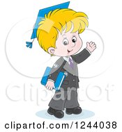 Blond School Boy Wearing A Graduation Cap And Waving