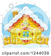 Clipart Of A Quaint Log Cabin In The Snow Royalty Free Vector Illustration
