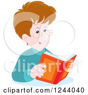 Clipart Of A Happy Brunette Caucasian Man Reading A Book Royalty Free Vector Illustration