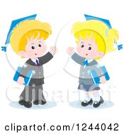 Clipart Of A Blond Caucasian School Boy And Girl Wearing Graduation Caps And Waving Royalty Free Vector Illustration