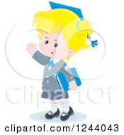 Clipart Of A Blond Caucasian School Girl Wearing A Graduation Cap And Waving Royalty Free Vector Illustration