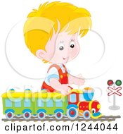 Clipart Of A Blond Caucasian Boy Playing With A Train Set Royalty Free Vector Illustration