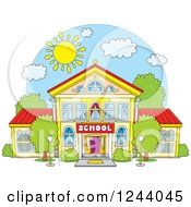 Clipart Of A School Building Facade On A Sunny Day Royalty Free Vector Illustration by Alex Bannykh