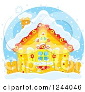 Clipart Of A Cute Log Cabin In The Snow Royalty Free Vector Illustration