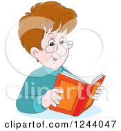 Clipart Of A Happy Caucasian Man Reading A Book Royalty Free Vector Illustration