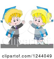Blond School Boy And Girl Wearing Graduation Caps And Waving