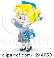 Blond School Girl Wearing A Graduation Cap And Waving