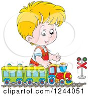 Clipart Of A Blond Boy Playing With A Train Set Royalty Free Vector Illustration