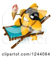 Clipart Of A 3d Sun Wearing Shades And Holding An Ice Cream Cone On A Chaise Lounge 2 Royalty Free Illustration