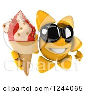 Clipart Of A 3d Sun Wearing Shades And Holding An Ice Cream Cone Royalty Free Illustration