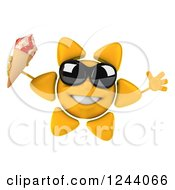 Clipart Of A 3d Sun Wearing Shades And Jumping With An Ice Cream Cone Royalty Free Illustration