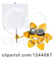 Clipart Of A 3d Sun Wearing Shades And Holding A Blank Sign Royalty Free Illustration
