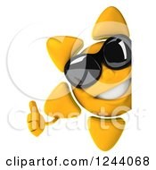 Clipart Of A 3d Sun Wearing Shades And Holding A Thumb Up Around A Sign Royalty Free Illustration