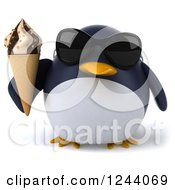 Clipart Of A 3d Penguin Wearing Sunglasses And Holding An Ice Cream Cone Royalty Free Illustration