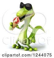 Clipart Of A 3d Green Gecko In Sunglasses Eating An Ice Cream Cone Royalty Free Illustration